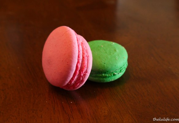 Figure 9. Strawberry and Pistachio macaroons.  Unfortunately, the other flavors got crushed =/, but they included chocolate and pineapple!