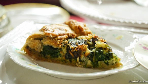 Figure 1. Savory galette of spring greens, cremini mushrooms and pecorino