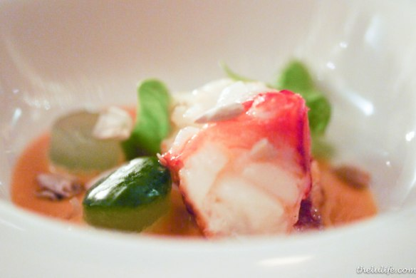 Figure 4. Lobster with Thai red curry with cucumber and sunflower seeds