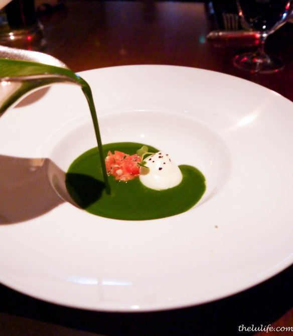 Chilled watercress soup, miso cured salmon and lemon yoghurt
