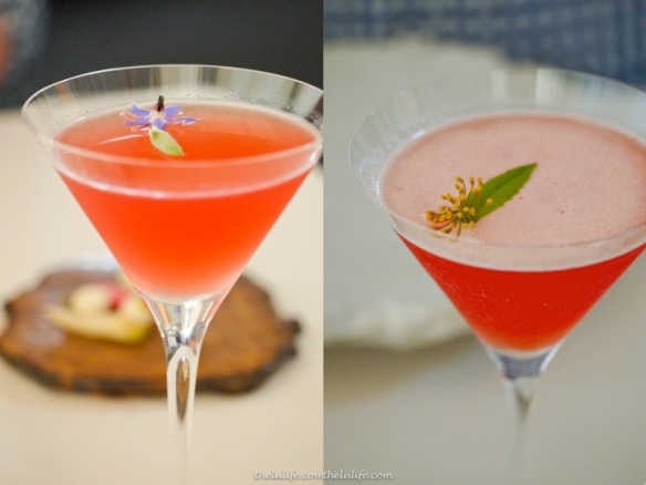 Blueberry cocktail (left) and strawberry cocktail (right)