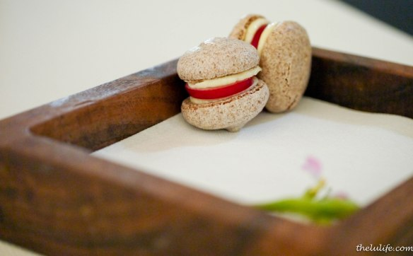 Amuse Bouche #5: Pumpernickel, radish and creme fraiche macarons I really wasn't sure what to expect biting into these, but they were delightful (not to mention semi-healthy) with a slight crunch!