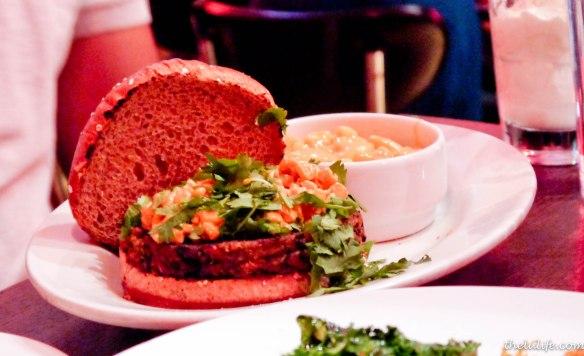 Cajun black bean burger – spicy black bean veggie patty topped with ...