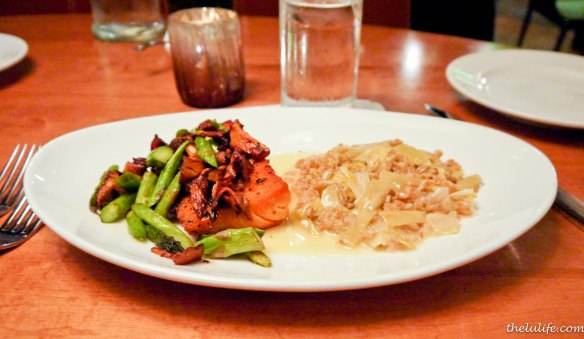 Scottish salmon, farro risotto, creamed leaks, asparagus and chanterelle mushrooms This salmon was cooked perfectly with a light crisp on the outside and a gorgeous glisten on the inside.  And the vegetables were surprisingly complementary to stunning protein.