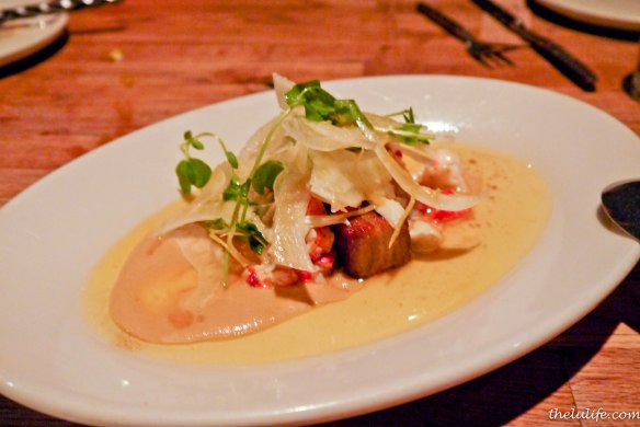 Confit goat belly with bourbon butter, lobster n' crab and fennel