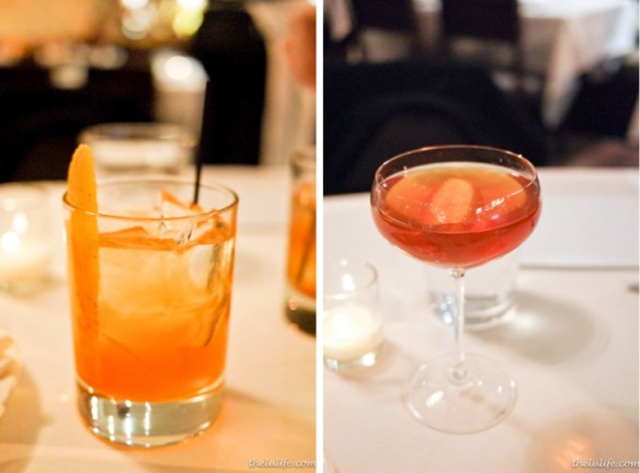 Left: St. Germaine cocktail with agave nectar Right: Neversummer - Angel's Envy Bourbon, Rare Tea Cellars Gingerbread Dream Rooibos, Small Hand's Gum Syrup