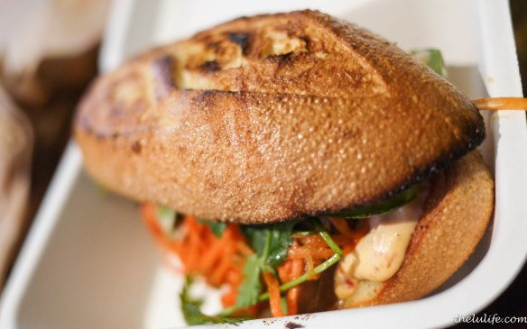 Five-spice glazed pork belly banh mi