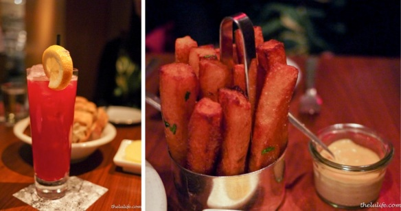 Left: Pomegranate lemonade Right: Triple fried fries