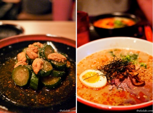 Left: Uni and cucumber Right: Sumo bowl - pork broth, chashu pork, smoked brisket, egg
