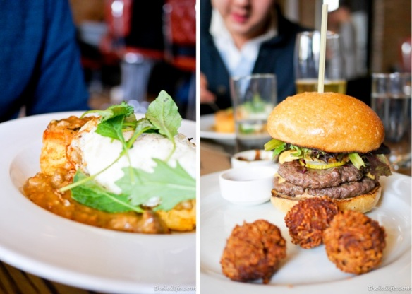 Left: Cheddar biscuits and sausage gravy, braised kale, runny egg Right: The Nightwood Cheeseburger - two patties, eight-year cheddar, onion ring, pickles, mustard, special sauce, tots