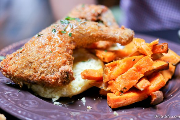 Half fried hen - drizzled with herb honey, roasted sweet potatoes and buttermilk biscuit