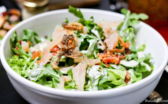 Bourbon cured trout salad - candy bacon, arugula and twig tea dressing