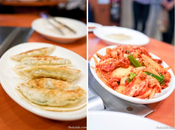 Mandu - pan fried dumplings Right: KimChi SamGyeobSal - Pan stir fried ...