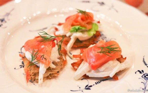 Potato pancakes - cured salmon, apple preserves, kohlrabi and dill