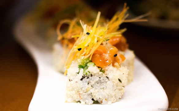 Crispy prawn and chirashi maki