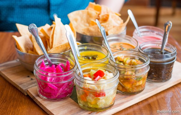 Salsas! (From least spicy to most spicy) Pico de gallo - tomatillo, chile morita, red onion, lime juice Escabeches - pickled veggies and jalapeño Espuma de mar - pineapple salsa with habanero Robo de dante - roasted pumpkin seed salsa with serrano and bell peppers Castigo Azteca - charred chile de arbol and peanut salsa Lagrimas de Lucifer - beets and roasted habanero peppers