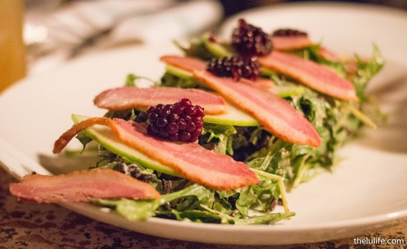 Smoked duck salad - black rice, pickled raspberry, apple, black garlic